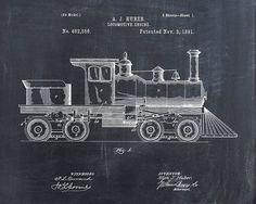 Transportation wall art https://www.etsy.com/listing/205784134/patent-print-of-a-locomotive-engine