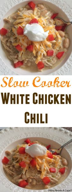 Slow Cooker White Chicken Chili {pinned over 1.1K times}