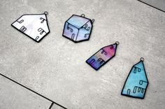 MINI HOUSES SET Iridescent Stained Glass by mbGlassArt on Etsy