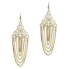 "The Farrah Earrings offer glamour, glitz and an alluring sway. You'll be the highlight every day.  - Gold filigree, crystal accents, gold rolo chains  - 2 3/4"" long  - Fish hook ear wire"