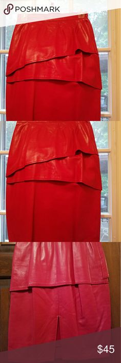 Leather skirt Red leather skirt lined Skirts A-Line or Full