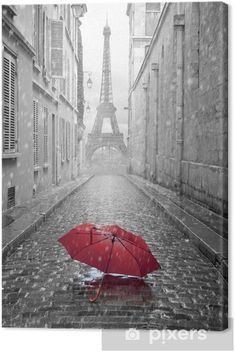Eiffel tower view from the street of Paris Canvas Print • Pixers® • We live to change