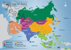 Map of the Regions of Asia Teaching Resource