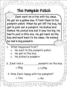 Teach Your Child to Read - Sarahs First Grade Snippets: Pumpkin Freebies! - Give Your Child a Head Start, and.Pave the Way for a Bright, Successful Future. Reading Comprehension Worksheets, Reading Fluency, Reading Passages, Kindergarten Reading, Reading Strategies, Reading Activities, Guided Reading, Teaching Reading, First Grade Reading Comprehension
