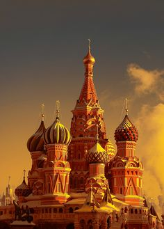 Saint Basil's, Moscow, with an orange filter by borissv.