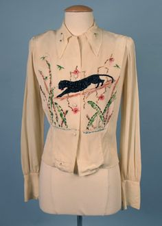 * Hand-Decorated Panther Blouse, 1940s