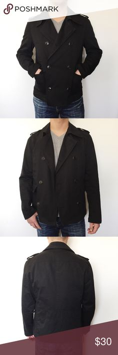"""Men's Zara peacoat Black men's double breasted peacoat from Zara. Outside is made of cotton with dark brown (almost back) horn style buttons. Has 4 front pockets and two inside breast pockets. Sleeves are lined in plaid fabric as seen in photos. In great condition! Model is 5'11"""" for reference. Zara Jackets & Coats Pea Coats"""