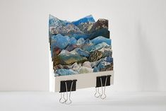 Italian artist Caterina Rossato turns old postcards into dreamy landscape collages in her layered postcard cut-outs project Déjà Vu. 3d Collage, Collage Sculpture, Collage Artwork, Creative Landscape, 3d Landscape, Collage Landscape, Up Book, Book Art, Home Fashion
