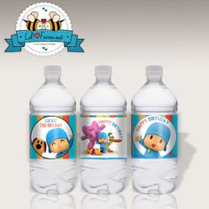 INSTANT DOWNLOAD - Editable Pocoyo and Friends Birthday Party Water bottle label - Napkin Ring - Personalized Printable pdf