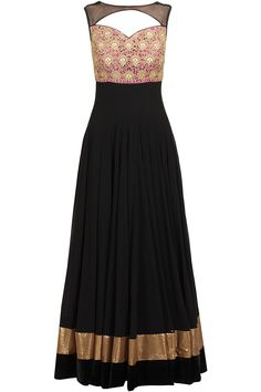 Featuring a black boat neck anarkali with pink embroidered cutwork yoke and sheer detailing around neck. It has a cut out back with tie-up strings detailing. It is paired with black churidaar and black net dupatta with pink border. Indian Gowns, Indian Attire, Indian Ethnic Wear, Indian Outfits, Ethnic Outfits, Indian Clothes, Indian Style, Salwar Kameez, Anarkali Kurti
