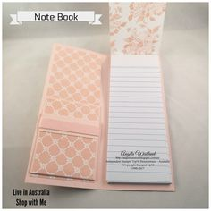 Ange's Treasures: Beautiful You Covered Note Pad or Shopping List with Pocket Insert Envelope Punch Board Projects, Calendar Notes, Post It Note Holders, Creative Instagram Photo Ideas, Book Holders, How To Make Box, Craft Fairs, Scrapbook Pages, Note Cards