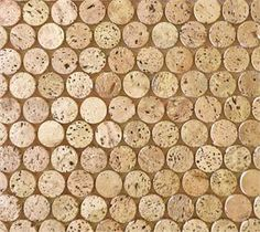 CorkDotz Mosaic Penny Round Tile is a forward-looking recycled tile.