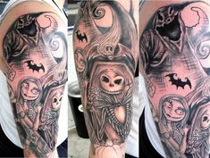 Nightmare before Christmas Tattoo sleeve by Diane Lange