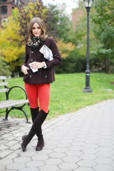 Brown Jacket, Red Pants, And Brown Boots