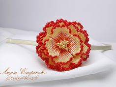 Ободок Гавайский цветок | biser.info - всё о бисере и бисерном творчестве