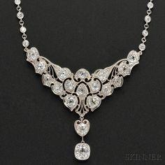 Edwardian Platinum and Diamond Lavaliere