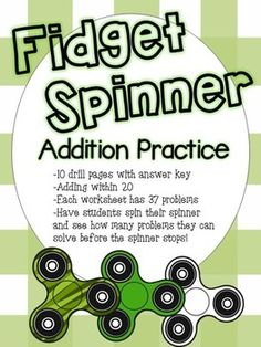 Students can have fun practicing addition using these worksheets! Have students place their fidget spinner and challenge them to solve problems on the page before the spinner stops! What's included- -Total of 10 practice pages with answer key -Each worksheet has 37 problems -Find sum of numbers within 20
