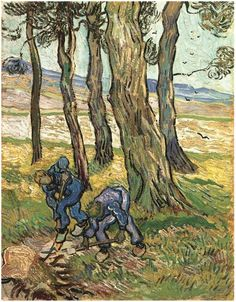 Two Diggers among Trees Vincent van Gogh Painting, Oil on Canvas Saint-Rémy: November - December, 1889