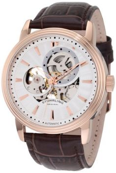 Stuhrling Original Men's 1076.3345K2 Classic Delphi Acheron Automatic Skeleton Brown Leather Strap Watch Stuhrling Original. Save 73 Off!. $114.00. Water-resistant to 165 feet (50 M). Silver guilloche patterned skeleton dial with rosetone markers and hands. Brown alligator embossed genuine leather strap. Polished rose gold layered round case with triple step design bezel. Protective Krysterna crystal on front and back