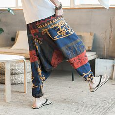 ChArmkpR Mens Casual Baggy Cotton Harem Pants Ethnic Style Printed Loose Wide Leg Pants is warm, see other men pants on NewChic Mobile. Harem Pants Men, Cotton Harem Pants, Cropped Trousers, Linen Pants, Wide Leg Trousers, Hip Hop Women, Fashion Pants, Mens Fashion, Oufits Casual