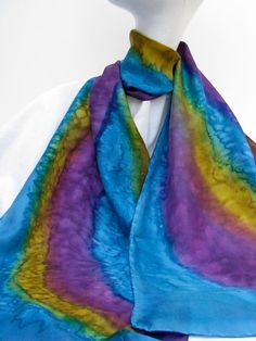 Elegant SILK SCARF Hand Painted in Gold Turquoise and by ShariArts, $26.00