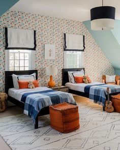 Orange Boys Rooms, Bedroom Orange, Twin Beds For Boys, Two Twin Beds, Geometric Bedding, Wooden Bunk Beds, Erin Gates, Built In Bunks, Bed Lights