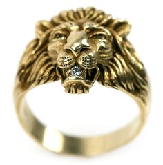 MENS 14K YELLOW GOLD & DIAMOND LIONS HEAD RING