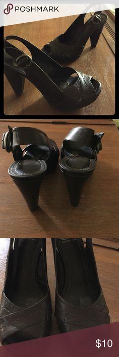 "Gianni Bini sling back heels Sling back heels by Gianni Bini. Dark brown leather, 4 1/2"" heel. Size 7 1/2. Worn once, like new! Gianni Bini Shoes Heels"