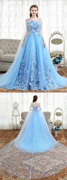 Fresh blue tulle 3D lace appliqués long sweet 16 prom dress, long evening dress
