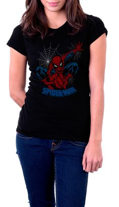 Camiseta chica Spiderman. Telaraña. Modelo 2  Chula camiseta para chica del querido y popular super héroe Spiderman en una de sus poses habituales y que tanto le hemos visto tanto en el cine como en los populares Marvel Cómics.