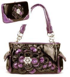 Black and Purple Rhinestone Flower Pocket Purse W Matching Wallet  #HBM