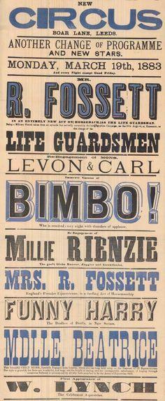 Woodtype poster. Poster impresso com tipos de madeira, em grandes tamanhos, composto por linhas de texto curtas. Os cartazes eram essencialmente verticais e hierarquizados com uma grande variedade de tipografias