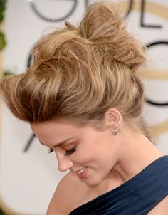 Repin if you love this voluminous updo on Amber Heard at the Golden Globe Awards 2014.