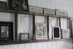 HV: Oude ladder met fotolijstjes #DIY #prachtig