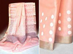 "A very ""peachy"" jamdani from Bengal Handlooms"
