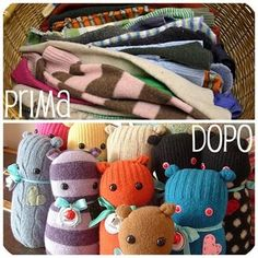 little cute toys Sewing Crafts, Sewing Projects, Diy Crafts, Alter Pullover, Old Sweater, Sweaters, Sock Dolls, Old Clothes, All Kids