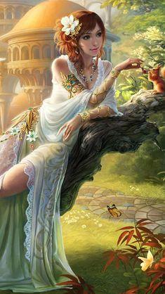 Art fantasy girl, feeding squirrel in garden iPhone 5 (5S) (5C) wallpaper - 640x1136