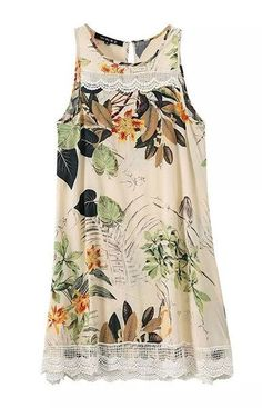 Loose Floral Dress with Lace Details