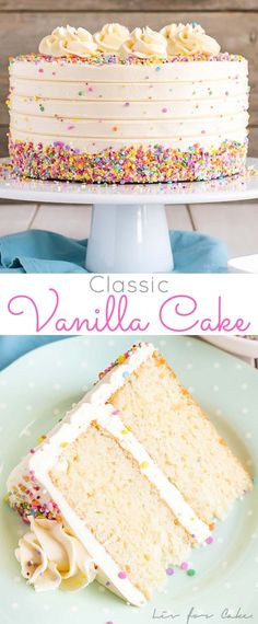 This Classic Vanilla Cake pairs fluffy vanilla cake layers with a silky vanilla . This Classic Vanilla Cake pairs fluffy vanilla cake layers with a silky vanilla buttercream. The perfect cake for bi Cupcake Recipes, Baking Recipes, Cupcake Cakes, Dessert Recipes, Vanilla Cake Recipes, Layer Cake Recipes, Basic Layer Cake Recipe, Dairy Free Vanilla Cake, Vanilla Pudding Cake