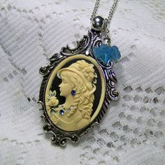 Beautiful Woman in Hat Cameo Pendant Antiqued by SouthernBelleOOAK