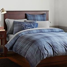 Branson Plaid Duvet Cover + Sham, Navy #pbteen