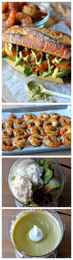 Spicy Roasted Shrimp Sandwich with Chipotle Avocado Mayonnaise