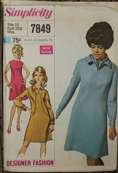 Simplicity Designer Fashion  7849 1960s 60s by EleanorMeriwether