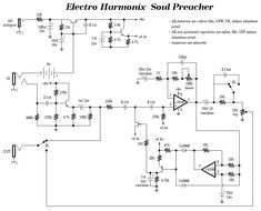 List of Guitar Fuzz, PreAmp, OpAmp electronic circuits and electronic schematics for a variety of Guitar effects and distortion fx. Electronics Mini Projects, Electronics Basics, Electronic Circuit Projects, Electrical Projects, Electronic Engineering, Guitar Compressor, Diy Guitar Amp, Amp Settings, Heavy Metal Guitar