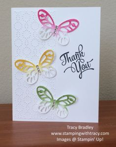 Butterfly Thank you card by Tracy Bradley using Stampin' Up! products.  www.stampingwithtracy.com