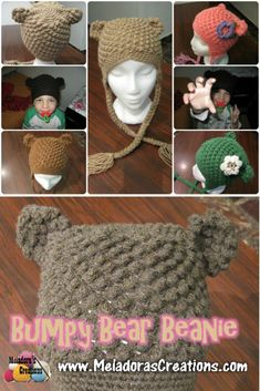 Your place to learn how to Make The Bumpy Bear Beanie for FREE. by Meladora's Creations - Free Crochet Patterns and Video Tutorials