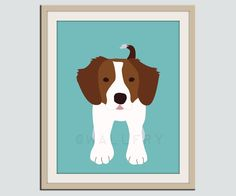 puppy theme nursery | Brittany Spaniel dog print. Puppy nursery artwork 11x14 for baby ...