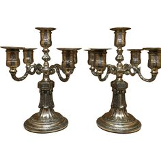 """Beautiful 13"""" Tall Ornate Pr. of Antique Sheffield Silver on Cooper from antiquedesigns on Ruby Lane"""
