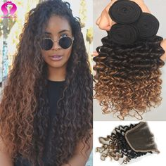 New Ombre Brazilian Virgin Hair With Closure 1B/4/27 Blonde Brazilian Virgin Hair 3 bundles With Closure Deep Wave With Closure