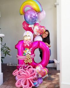 Image may contain: 1 person Unicorn Birthday Parties, Birthday Diy, Birthday Balloons, Unicorn Party, Balloon Bouquet, Balloon Garland, Balloon Decorations, Large Balloons, Letter Balloons